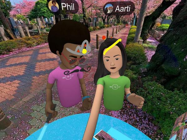 """NPR reporter Aarti Shahani tested Facebook's new social VR platform. She requested an older avatar to represent her, but that was not available. Her guide """"Phil"""" had her tour virtual cherry blossoms."""