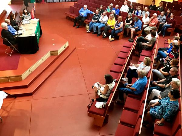 A bird's eye view of Florida Matters' town hall on food insecurity in Polk County, hosted in the Annie Pfeiffer Chapel at Florida Southern College.