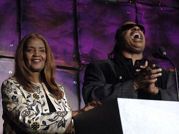 Sylvia Moy and Stevie Wonder during the 37th Annual Songwriters Hall of Fame ceremony in 2006, at which Moy was inducted. Moy died Saturday at age 78.