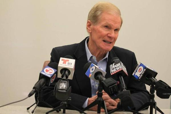 Florida Sen. Bill Nelson speaking at his office in Coral Gables Tuesday afternoon.
