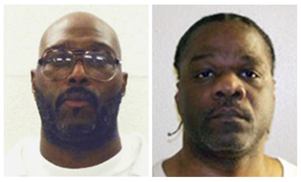 Death row inmates Stacey Johnson (from left) and Ledell Lee  are both scheduled to be put to death Thursday. A new court ruling has allowed the execution of Lee to go forward. Johnson's sentence is still on hold.