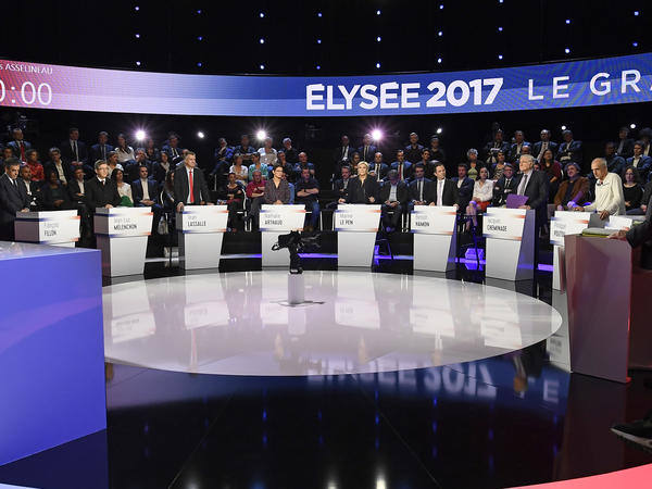 France's presidential candidates attend a television debate at French private TV channels BFM TV and CNews, in La Plaine-Saint-Denis, outside Paris, France, on April 4.