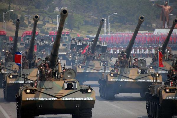 This April 15, 2017 picture released from North Korea's official Korean Central News Agency (KCNA) on April 16, 2017, shows Korean People's howitzers being displayed during a military parade in Pyongyang marking the 105th anniversary of the birth of late North Korean leader Kim Il-Sung. (STR/AFP/Getty Images)