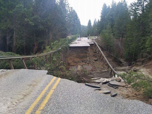Flooding washed out the road on Highway 395 near Kettle Falls, Washington.