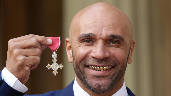 Goldie after being made an MBE (Member of the Order of the British Empire) by the Prince of Wales on February 24, 2016.