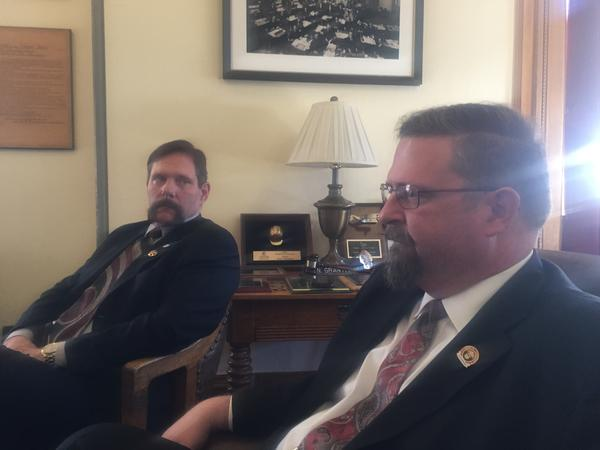 Sen. Randy Baumgardner (R-Hot Sulphur Springs) joins Senate President Kevin Grantham (R-Canon City) to tell reporters they don't have the Republican votes to pass a bipartisan transportation funding bill.