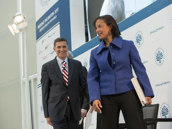 Then-national security adviser-designate Michael Flynn and Ambassador Susan Rice participate in a conference on the transition of the presidency from Barack Obama to Donald Trump at the U.S. Institute of Peace in Washington D.C., on Jan. 10.
