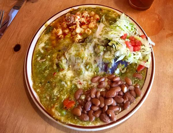 Lunch at La Choza in Santa Fe, N.M.: Green chile enchilada plate. (Kathy Gunst for Here & Now)