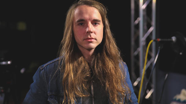 Andy Shauf in the <em>World Cafe</em> performance studio.