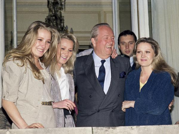 President of the French National Front Jean Marie Le Pen with his daughters Marine, Yann and Marie Caroline, on April 24, 1988.
