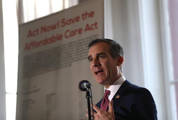 Los Angeles Mayor Eric Garcetti speaks during a town hall on the Affordable Care Act National Day of Action on Feb. 22, 2017 in Los Angeles. (Justin Sullivan/Getty Images)