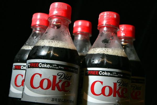 Bottles of Diet Coke. A new study has found an association between frequent drinking of diet sodas and an increased risk of both stroke and dementia. (Justin Sullivan/Getty Images)