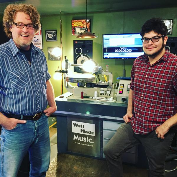 Clint Holley (left) and Dave Polster cut lacquers at Well Made Music in the W. 78th Street Studios. Lacquers are essentially the blueprint for all the disks that will be pressed of a title.