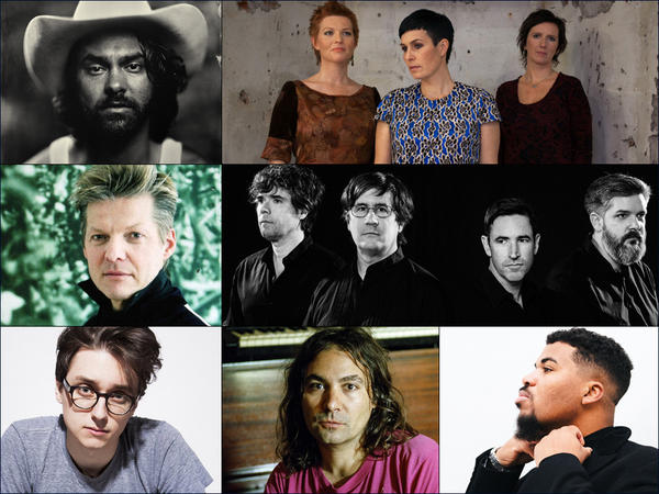 Clockwise from upper left: Shakey Graves, Trio Mediaeval, The Mountain Goats, Mr. Mitch, The War On Drugs, Elliot Moss, GAS