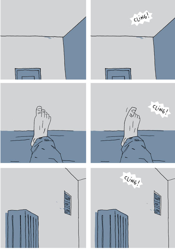 Mono-toe-ny: A page from Guy Delisle's <em>Hostage</em>.