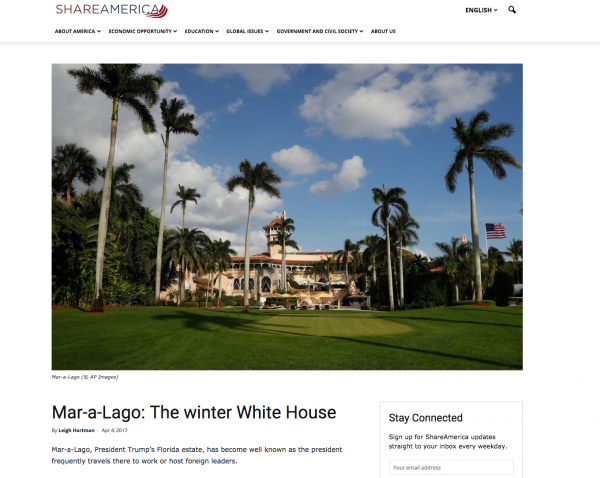 ShareAmerica.gov, a State Department website, shared an article promoting Mar-a-Lago, President Trump's golf club and resort in Palm Beach, Fla. The page has since been removed.