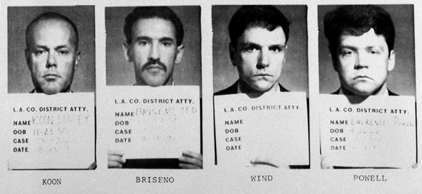 The four police officers indicted for brutalizing black motorist Rodney King in a videotaped attack are shown in these police mug shots taken March 14, 1991. From left, Sgt. Stacey C. Koon, Officer Theodore J. Briseno, Officer Timothy E. Wind and Officer Laurence Powell. Two served time in prison and all four lost their careers.