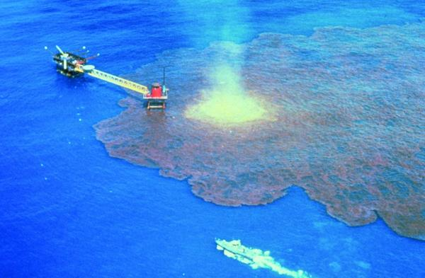 The Ixtoc I oil spill in 1979, caused by a blown-out oil well. The well ran wild for 9 months, and spilled over 140 million gallons of oil into the Bay of Campeche in the Gulf of Mexico. (Collection of Doug Helton, NOAA/NOS/ORR)