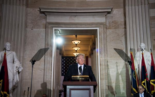 President Trump speaks during a Holocaust remembrance ceremony in the Rotunda of the U.S. Capitol on Tuesday.