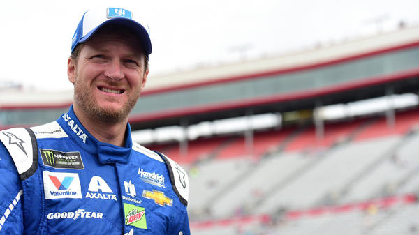 Dale Earnhardt Jr., driver of the #88 Nationwide Chevrolet, walks through the garage area during practice for the Monster Energy NASCAR Cup Series Food City 500 at Bristol Motor Speedway in Tennessee on Saturday.