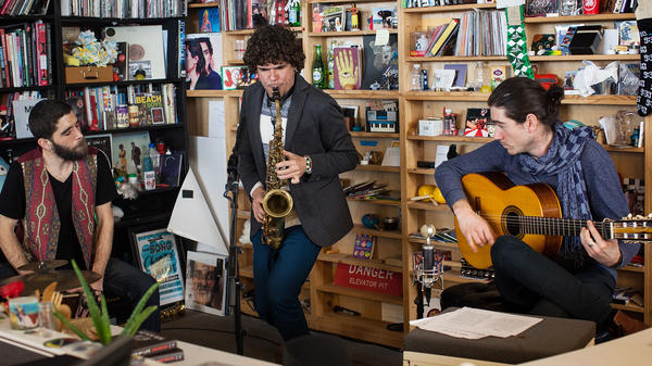 Antonio Lizana performs a Tiny Desk Concert on Jan. 25, 2017. (Marian Carrasquero/NPR)