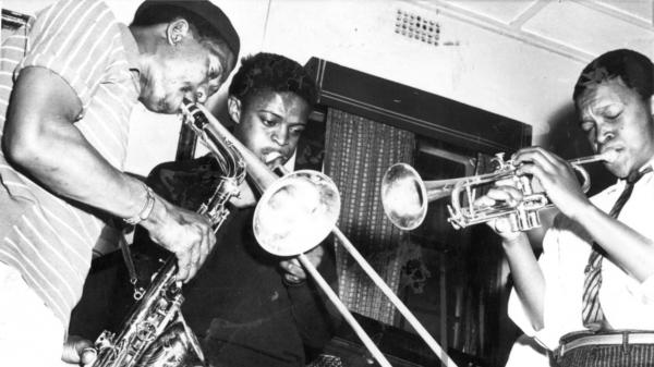 Jonas Gwangwa with Hugh Masekela and Kippie Moeketsi.