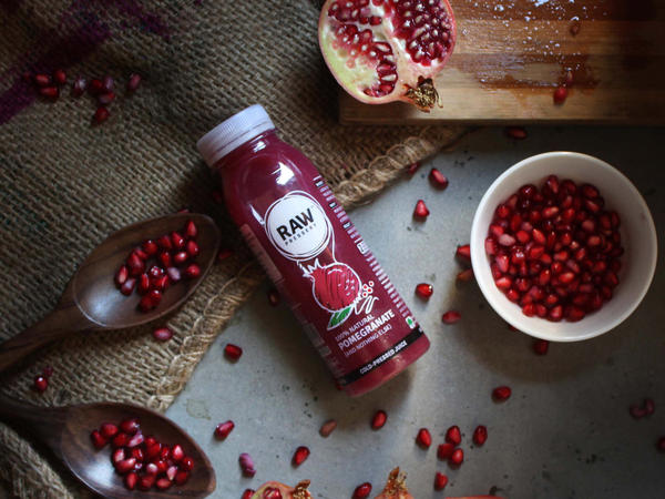Pomegranate juice sold by Raw Pressery, a company that markets its drinks as healthy and devoid of additives and flavors.