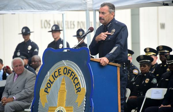 Los Angeles Police Chief Charlie Beck addresses police recruits at their graduation ceremony on July 8, 2016 in Los Angeles.