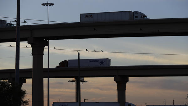 Trucks travel on an overpass to and from the World Trade Bridge, which links Laredo, Texas, and Nuevo Laredo in the Mexican state of Tamaulipas.