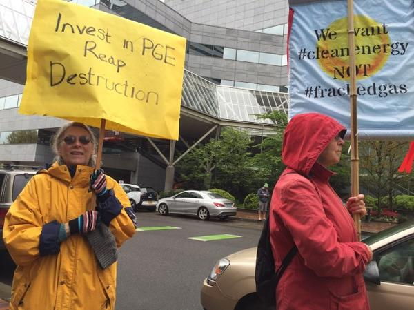 <p>Environmentalists organized a protest to coincide with a PGE shareholders meeting in downtown Portland.</p>