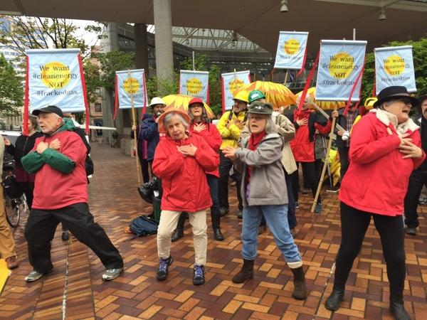"<p>Protesters danced to their own version of ""YMCA"" in which they asked PGE why the utility is considering natural gas when wind and solar energy would be better for the planet.</p>"
