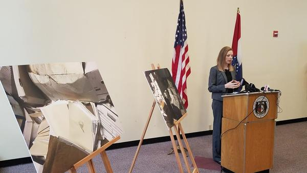 Missouri state Auditor Nicole Galloway details her office's audit report of Ferguson's municipal courts on Wednesday.
