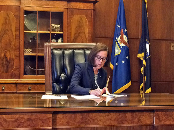 File photo. Oregon Gov. Kate Brown signed an executive order Thursday that addresses PERS costs, state employee compensation bargaining, and debt collection.