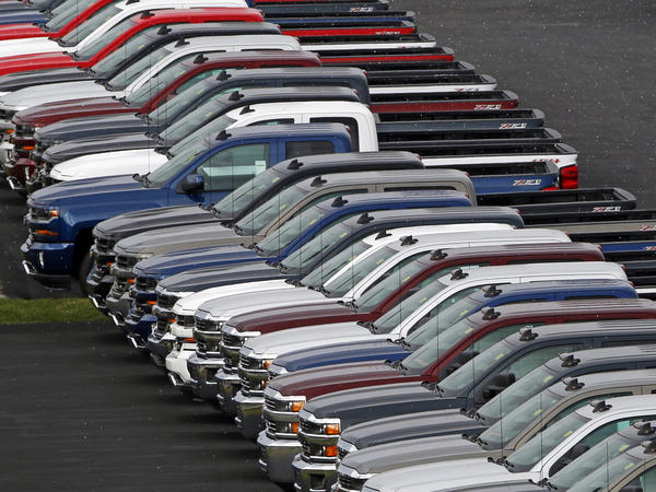 The U.S. economy grew by just 0.7 percent in the first quarter of this year. Weak auto sales were one factor dragging down consumer spending. (Above) Chevrolet pickup trucks at a dealership in Delmont, Pa., in February.
