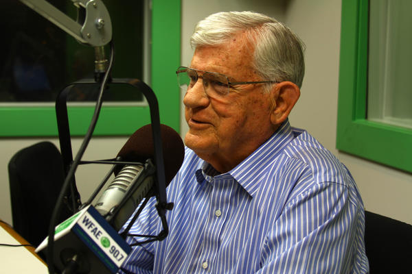 """Former N.C. governor Jim Martin at WFAE studios for an interview on religion, science, and his recently-published book, """"Revelation Through Scinence."""""""