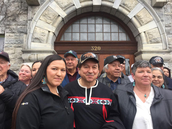 Rick Desautel of Inchelium, Washington, center, was accused of illegal hunting after he crossed into Canada in 2010 to hunt for elk on the traditional hunting grounds of the Sinixt tribe in Canada.
