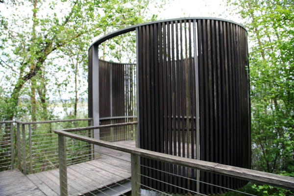 <p>Constructed in 2008, Maya Lin's Bird Blind lies tucked away in the Sandy River Delta. It's one of five completed installations by the Confluence Project.</p>