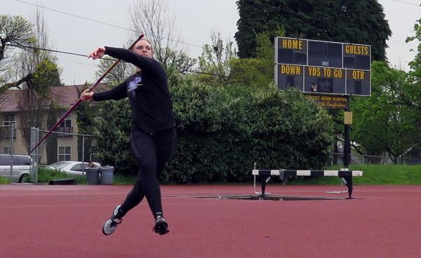 <p>University of Portland senior Kaylie Van Loo, at practice.</p>