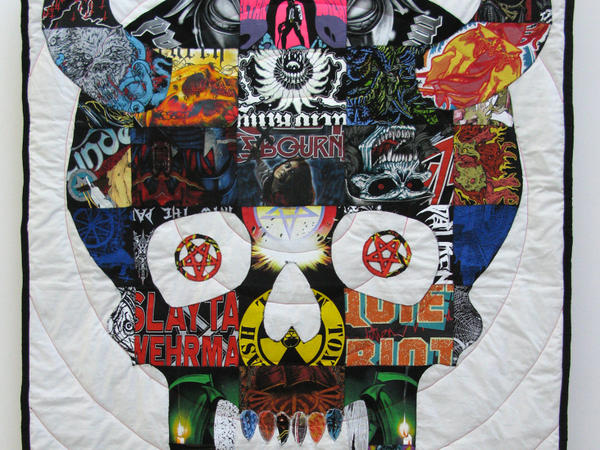 Artist Ben Venom makes quilts using vintage heavy metal T-shirts.