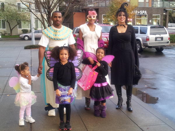 Elwyn McRoy and his family dress up for Halloween in 2012.