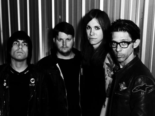 Against Me!'s latest album is <em>Transgender Dysphoria Blues</em>. Left to right: Inge Johansson, James Bowman, Laura Jane Grace, Atom Willard.