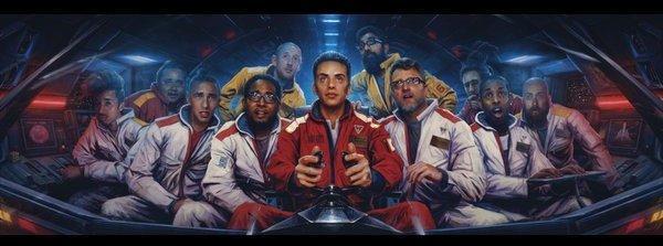 The gatefold of Logic's <em>The Incredible True Story</em>, painted by Sam Spratt.