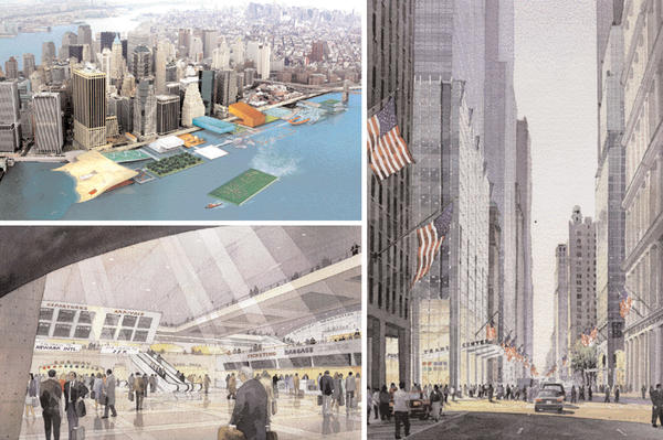 "Excerpts from Mayor Bloomberg's ""Vision"" plan: (top left) a view of an East River waterfront park proposal, with sea-level ice skating rink and hydroponic garden, by Rockwell/Diller + Scofido; (bottom left) a conceptual view of the interior of the proposed Lower Manhattan transportation terminal; (bottom right) a view of proposed improvements to Broadway, including an MTA transit hub."