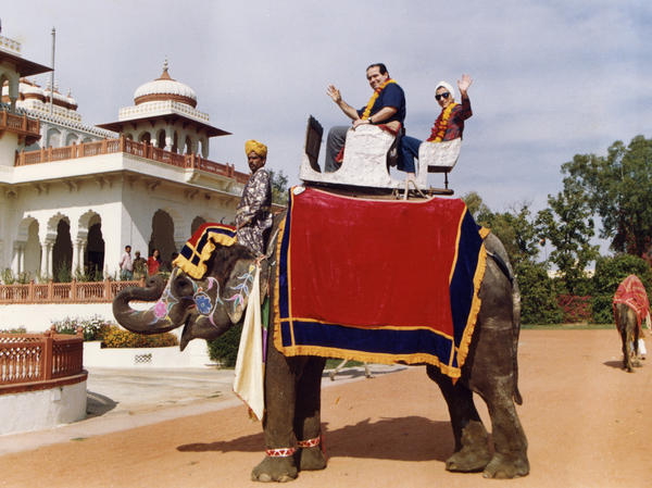Justice Antonin Scalia and Justice Ginsburg pose on an elephant during their tour of India in 1994.