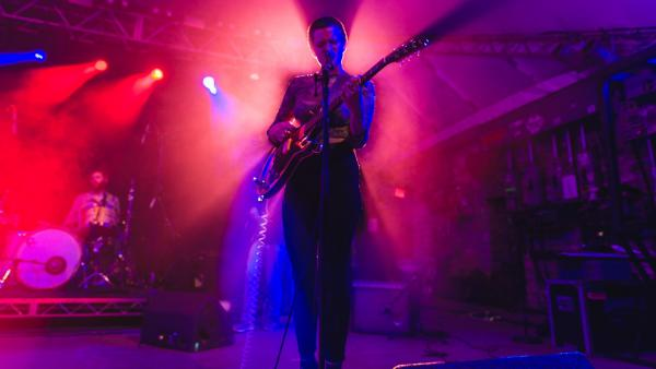 Adrianne Lenker of Big Thief steps into the limelight during her band's set at Stubb's BBQ.