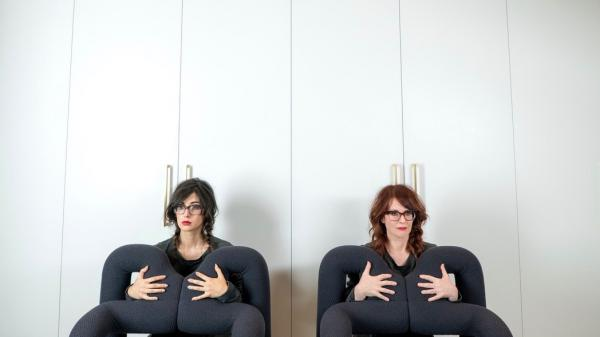 Stephanie Hart (left) and Megan Mullally make up the comedic musical duo Nancy and Beth.