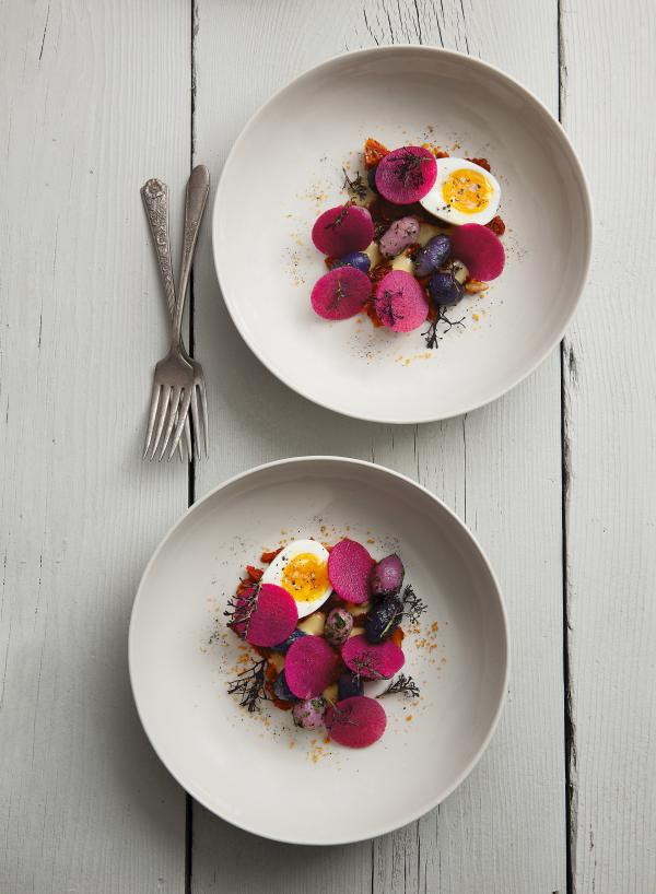 """Potatoes, ramp kimchi, radish and soft-boiled egg. The recipe can be found in Jeremy Fox's new cookbook """"On Vegetables."""""""