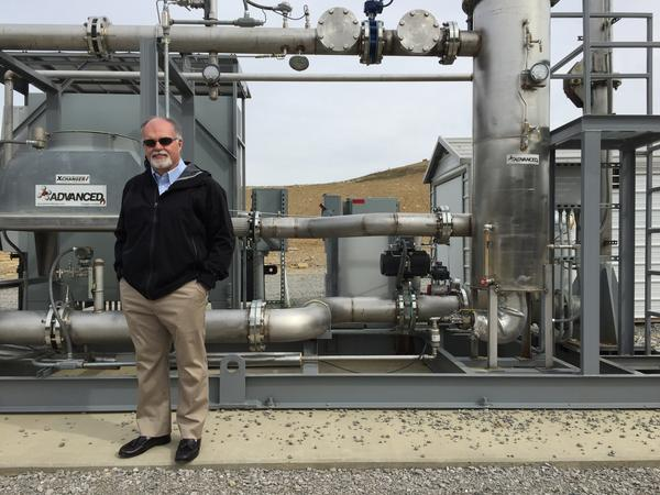 Kevin Butt, Toyota's regional environmental sustainability director, at a facility that uses methane to generate clean electricity to help run Toyota's auto plant in central Kentucky.