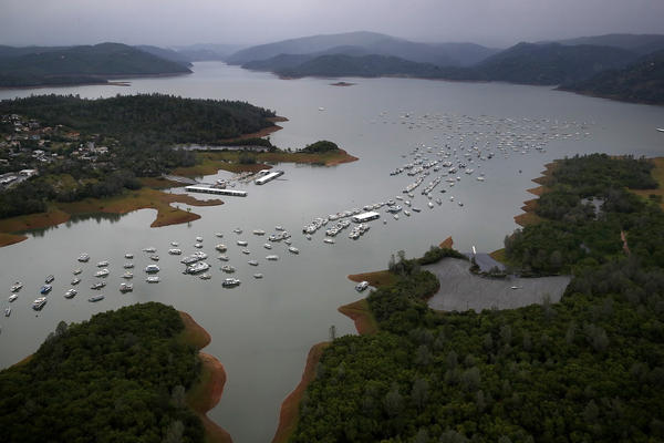 Bidwell Marina at Lake Oroville in April in Oroville, Calif. After record rainfall and snow in the mountains, much of California's landscape has turned from brown to green and reservoirs across the state are near capacity.