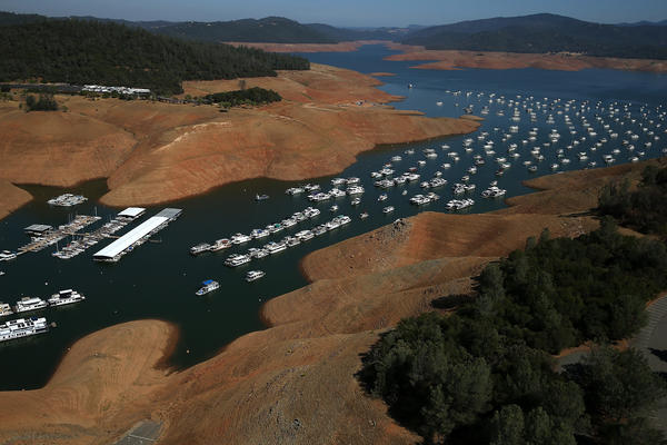 Low water levels are visible in the Bidwell Marina at Lake Oroville in August 2014.